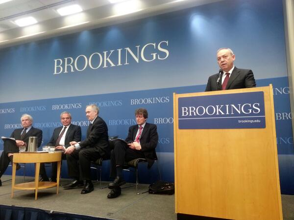 TUSIAD President Muharrem Yilmaz delivering opening remarks at the Brookings Institution